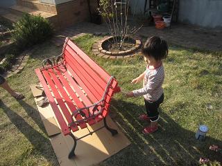 ルルーのベンチ塗り1