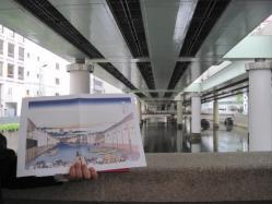 首都高に塞がれた日本橋川と浮世絵