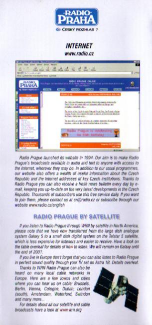 2001年10月~2002年3月(B01) Radio Prague スケジュール表