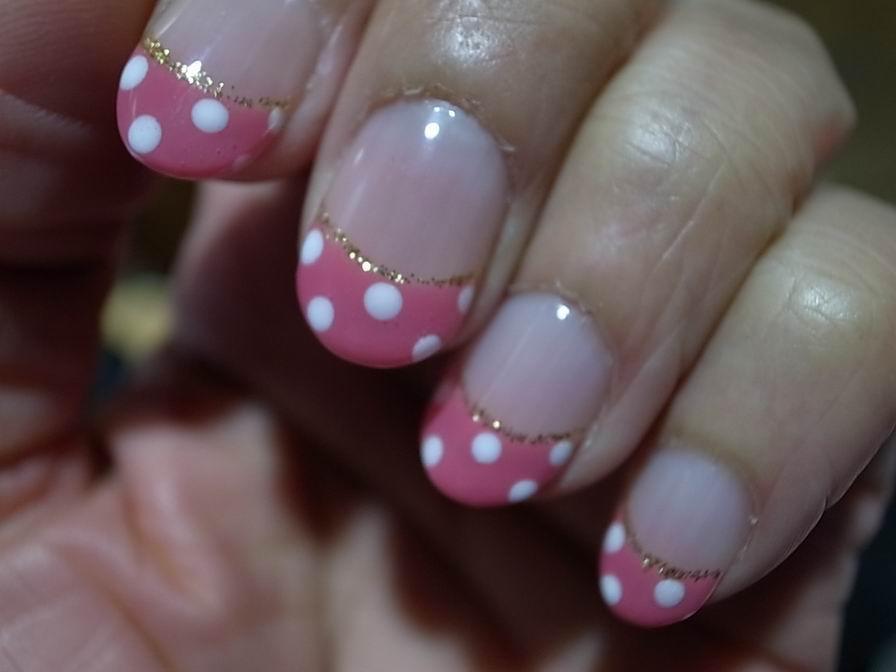 ピンク水玉nail
