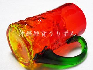 琉球ガラス,ジョッキ,赤