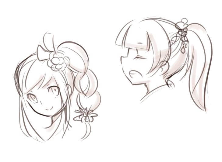女の子髪型落書き