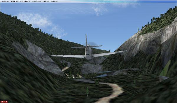 渓谷沿いの低空飛行