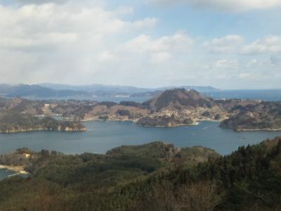亀山山頂から見た唐桑半島 小鯖港