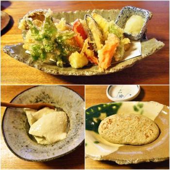 天ぷら・生搾り寄せ豆腐・そばがき