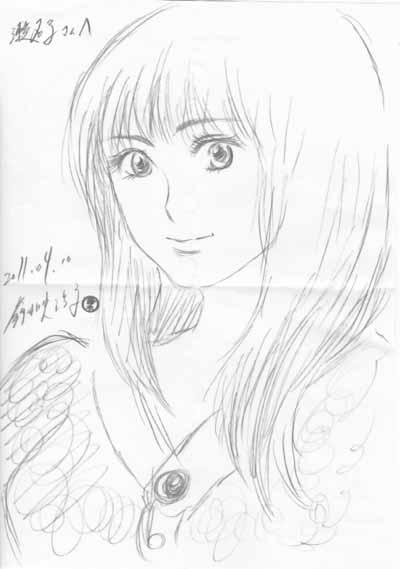 2011年4月10日 鈴木映理子画・嫁(鈴木メルヒェン瀬名子)の似顔絵。