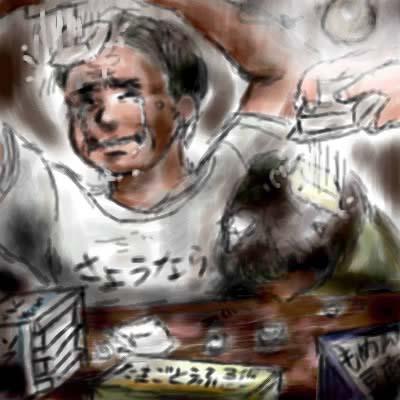 旦那画・皆瀬バロンのお題「おバカな挑戦」にて、「豆腐の角で一家心中」の図(笑)