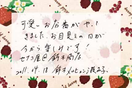 2011年4月18日 嫁から旦那へ・おまけメモ。