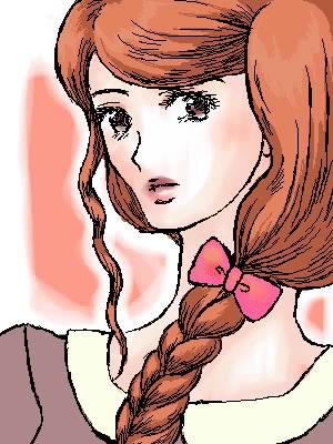 鈴木映理子画・お絵描き掲示板にて女の子絵。リボンヘアゴムのパッケージに。