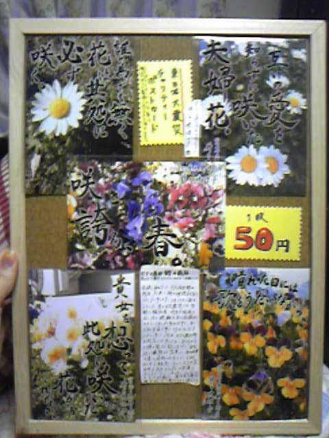 嫁と映理子が製作した東日本大震災チャリティーポストカードのボード。