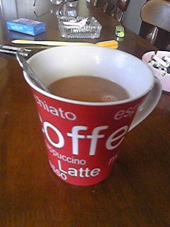 ニトリのマグカップでお珈琲を。