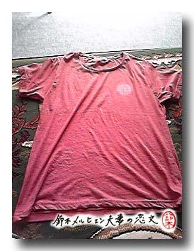 嫁お買い物・赤Tシャツ500円、紳士ものでサイズはL。