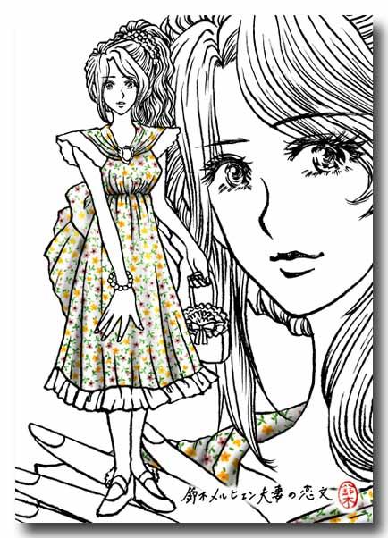 鈴木映理子監修・ファッションデザイン画集「エリコレ。」第一集のイラスト製作過程。