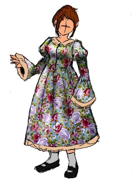 嫁用レトロワンピ・デザイン画その2。布が色違いのものに変更になりました。