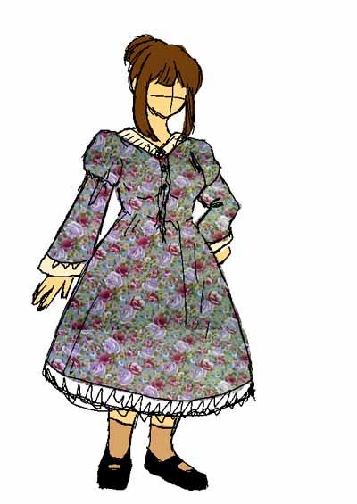 嫁用レトロワンピ・デザイン画その2、着脱可能で一直線型の袖。