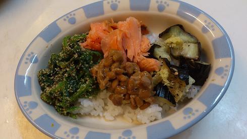 鮭と納豆&ほうれん草と焼きナス