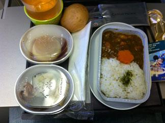 機内食はカレーでした
