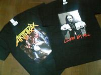 クリフ・バートンとANTHRAXのTシャツ
