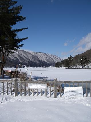 近所の湖が凍ってる その1