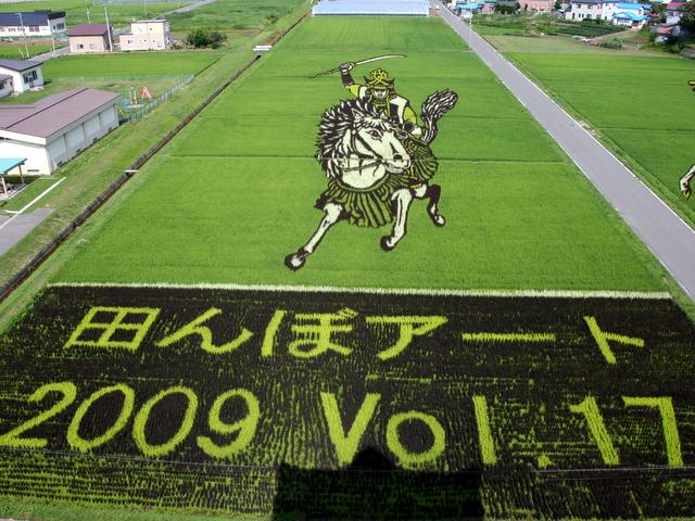 青森県 田舎館村 田んぼアート 戦国武将とナポレオン 2009