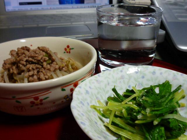水菜の辛し醤油和えともやしの地球に優しくで乾杯♪