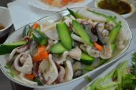 宜蘭の年菜のイカ炒め