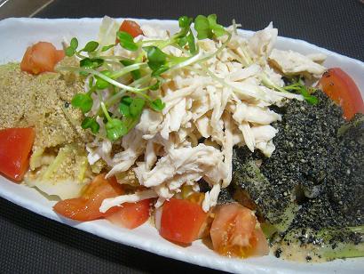 春キャベツと蒸し鶏胡麻サラダ2 (1)小