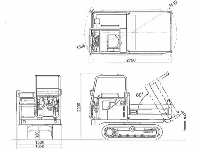 コマツ不整地運搬車(クローラダンプ・CD20R-2)