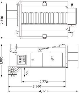 CATウッドチップ吹き付け装置バークブロワ(BB705(4tトラック搭載用))
