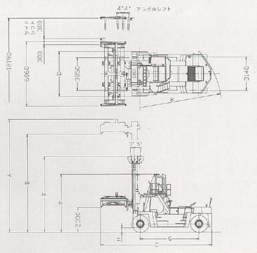 TCMスプレッダ仕様大型フォークリフト(FD430・スプレッダ仕様)