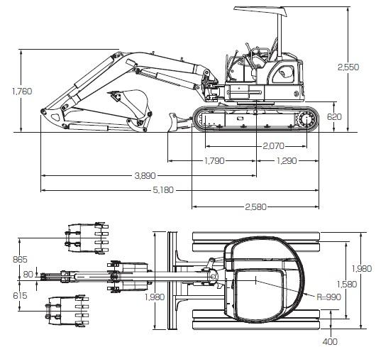 CATミニ油圧ショベル(後方超小旋回機304C・CR)