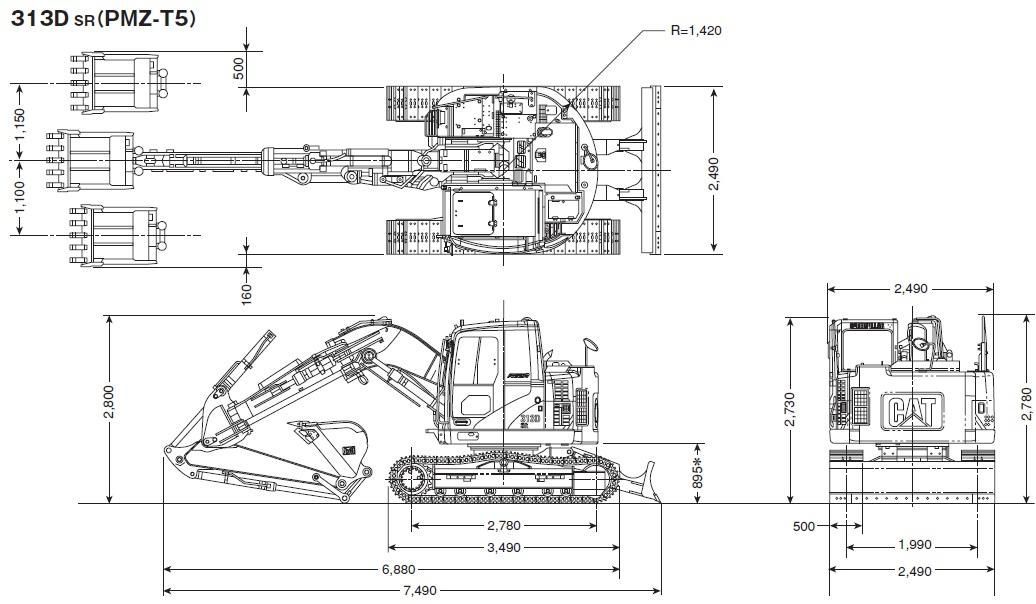 CAT油圧ショベル(超小旋回機・313D SR)