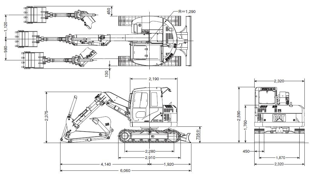 CAT油圧ショベル(超小旋回機・308D SR)