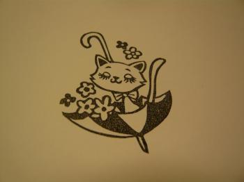 猫ちゃんと傘はんこ