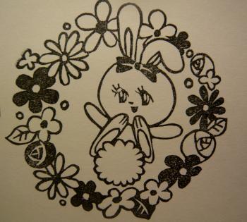 うさぎとお花はんこ1