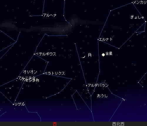 201204 25 細いお月さまと金星星図