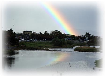 嵐山 渡月橋から見た虹
