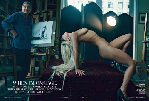 Lady Gaga - topless in Vanity Fair magazine January 2012 01