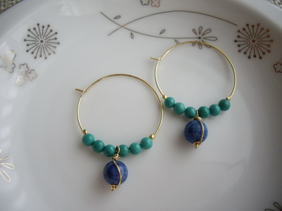 tuquise and lapis hoop earrings