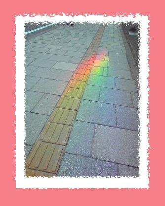 道路に虹?