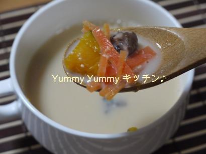 かぼちゃとマッシュルームの豆乳みそスープ♪