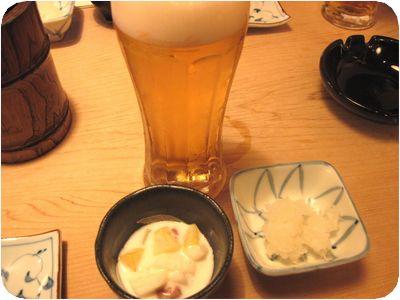 ビール・お通し