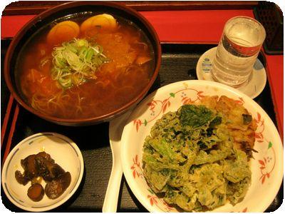 カレーラーメン+ポパイ天+新生姜肉天+八海山