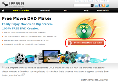 Sothink Movie DVD Maker ダウンロードページ