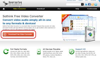 Sothink Video Converter ダウンロードページ