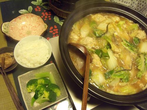 4鶏団子と白菜と長ネギの鍋定食