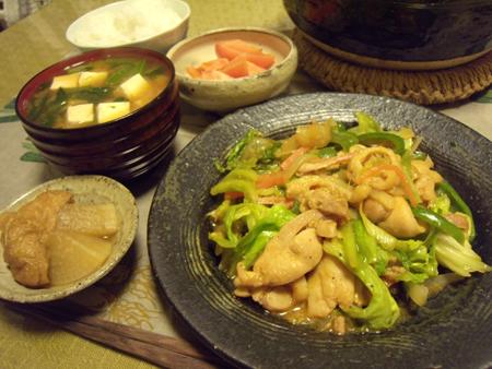 6鶏のにんにくみそ漬け野菜炒め定食