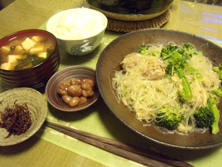 6鶏肉とブロッコリーと春雨と帆立缶スープ煮定食