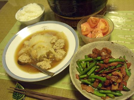 2肉団子と白菜と春雨のスープ・いんげんとベーコンの醤油炒め定食