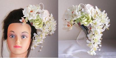 大輪ホワイトローズと桜の和装髪飾り